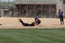 03 June 2017:  Annie Hanshew dives for 2nd base but comes up short.  Argenta Oreana Bombers at Le Roy Panthers for the IHSA Class 1A Le Roy Regional Finals in Le Roy Illinois