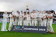 Ryan ten Doeschate of Essex lifts the County Championship trophy during the Specsavers County Champ Div 1 match between Somerset County Cricket Club and Essex County Cricket Club at the Cooper Associates County Ground, Taunton, United Kingdom on 26 September 2019.
