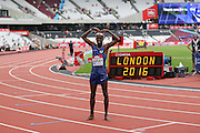 Mo Farah GBR celebrates winning the 5000m during the Muller Anniversary Games at the Stadium, Queen Elizabeth Olympic Park, London, United Kingdom on 23 July 2016. Photo by Phil Duncan.
