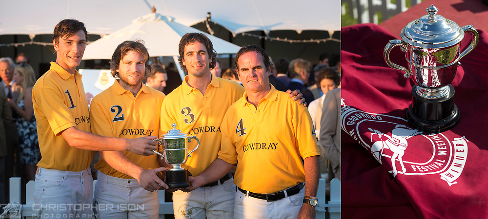 The Cowdray team with their trophy at Cowdray Park in Midhurst, West Sussex this evening after winning the Qatar Goodwood Festival Challenge Cup Polo. The match between Cowdray and Goodwood was won by the home side 7:6. Left to right: Jack Richardson, Matias Zavaleta, Alejandro Novillo Astrada and Eduardo Heguy.<br /> Picture date Thursday 30th July, 2015.<br /> Picture by Christopher Ison. Contact +447544 044177 chris@christopherison.com