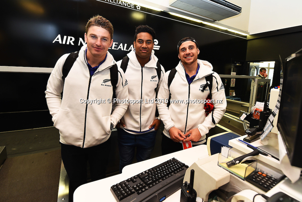 Beauden Barrett, Julian Savea and TJ Perenara at Nelson Airport check in counter during the All Blacks to the Nation tour to Richmond, Nelson, New Zealand. Sunday 4 September 2016. ©Copyright Photo: Chris Symes / www.photosport.nz