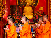 29 JANUARY 2019 - BANGKOK, THAILAND:       Mahayana Buddhist monks chant at Wat Mangon Kamalawat, a large Chinese Buddhist temple in Bangkok's Chinatown district. Chinese New Year celebrations in Bangkok start on February 4, 2019. The coming year will be the Year of the Pig in the Chinese zodiac. About 14% of Thais are of Chinese ancestry and Lunar New Year, also called Chinese New Year or Tet is widely celebrated in Chinese communities in Thailand.      PHOTO BY JACK KURTZ