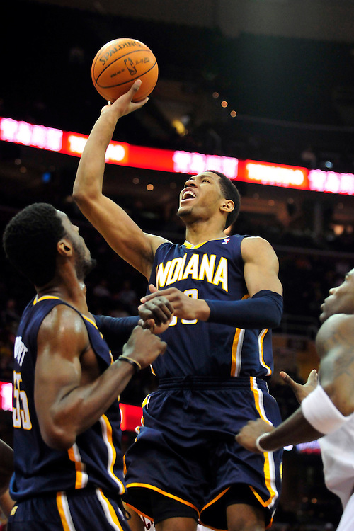 Feb. 2, 2011; Cleveland, OH, USA; Indiana Pacers small forward Danny Granger (33) drives to the basket during the third quarter against the Cleveland Cavaliers at Quicken Loans Arena. The Pacers beat the Cavaliers 117-112. Mandatory Credit: Jason Miller-US PRESSWIRE
