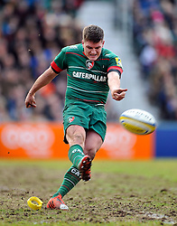 Freddie Burns of Leicester Tigers kicks for the posts - Photo mandatory by-line: Patrick Khachfe/JMP - Mobile: 07966 386802 28/03/2015 - SPORT - RUGBY UNION - Leicester - Welford Road - Leicester Tigers v Exeter Chiefs - Aviva Premiership