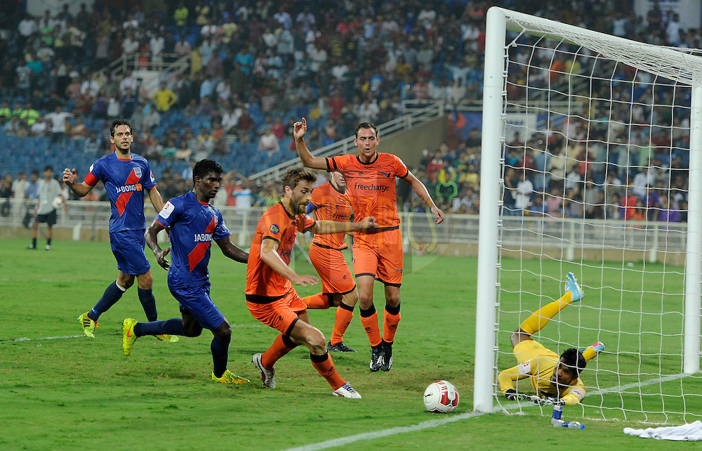 Subrata Paul of Mumbai City FC saves a goal during match 22 of the Hero Indian Super League between Mumbai City FC and Delhi Dynamos FC City held at the D.Y. Patil Stadium, Navi Mumbai, India on the 5th November.<br /> <br /> Photo by:  Pal Pillai/ ISL/ SPORTZPICS