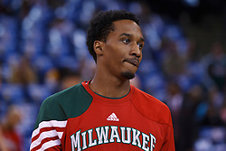 Mar 16, 2012; Oakland, CA, USA; Milwaukee Bucks point guard Brandon Jennings (3) warms up before the game against the Golden State Warriors at Oracle Arena. Milwaukee defeated Golden State 120-98. Mandatory Credit: Jason O. Watson-US PRESSWIRE