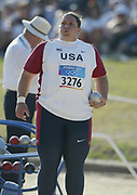 Kristen Heaston of the United States placed 12th in her group in the women's shot put qualifying at 56-4 (17.17m) in the 2004 Olympics in Athens, Greece on Wednesday, August 18, 2004.