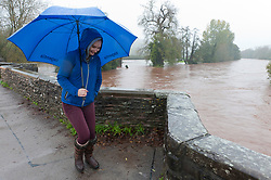 © Licensed to London News Pictures. 26/10/2019. Crickhowell, Powys, Wales, UK. Rain falls relentlessly and the level of the river Usk rises dramatically. Water enters The Bridge End Inn basement in Bridge Street, Crickhowell  in Powys. Photo credit: Graham M. Lawrence/LNP