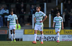 Dejection for Yeovil Town's Sam Foley  - Photo mandatory by-line: Harry Trump/JMP - Mobile: 07966 386802 - 07/03/15 - SPORT - Football - Sky Bet League One - Yeovil Town v Oldham Athletic - Huish Park, Yeovil, England.