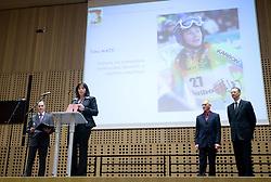 Igor E. Bergant, Sonja Maze, mother of Tina Maze,  Miroslav Cerar and Igor Luksic at 45th Awards of Stanko Bloudek for sports achievements in Slovenia in year 2009, on February 9, 2010, Brdo pri Kranju, Slovenia.  (Photo by Vid Ponikvar / Sportida)