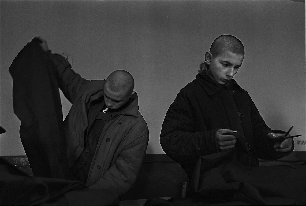 Russian juvenile prisoners work at the colony for prisoner's children in Siberian town Leninsk-Kuznetsky, Russia, 26 January 2000.