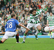 Celtic's Georgios Samaras goes past Rangers' Steven Whittaker during the League Cup final between Rangers and Celtic at Hampden Park -<br /> David Young Universal News And Sport