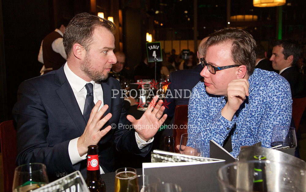 LONDON, ENGLAND - Tuesday, December 8, 2015: BBC's Connor McNamara and The Anfield Wrap's Neil Atkinson chat during the Football Supporters' Federation Awards Dinner 2015 at the St. Pancras Renaissance Hotel. (Pic by David Rawcliffe/Propaganda)