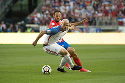 """September 1, 2017 - Harrison, New Jersey, U.S - USMNT midfielder MICHAEL BRADLEY (4) fights for the ball against Costa Rica forward MARCO URE""""A (21) during a World Cup qualifier match at Red Bull arena in Harrison, NJ.  Costa Rica defeats USA 2 to 0. (Credit Image: © Mark Smith via ZUMA Wire)"""