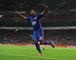Manchester United's Luis Antonio Valencia celebrates. - Photo mandatory by-line: Alex James/JMP - Mobile: 07966 386802 - 22/11/2014 - Sport - Football - London - Emirates Stadium - Arsenal v Manchester United - Barclays Premier League