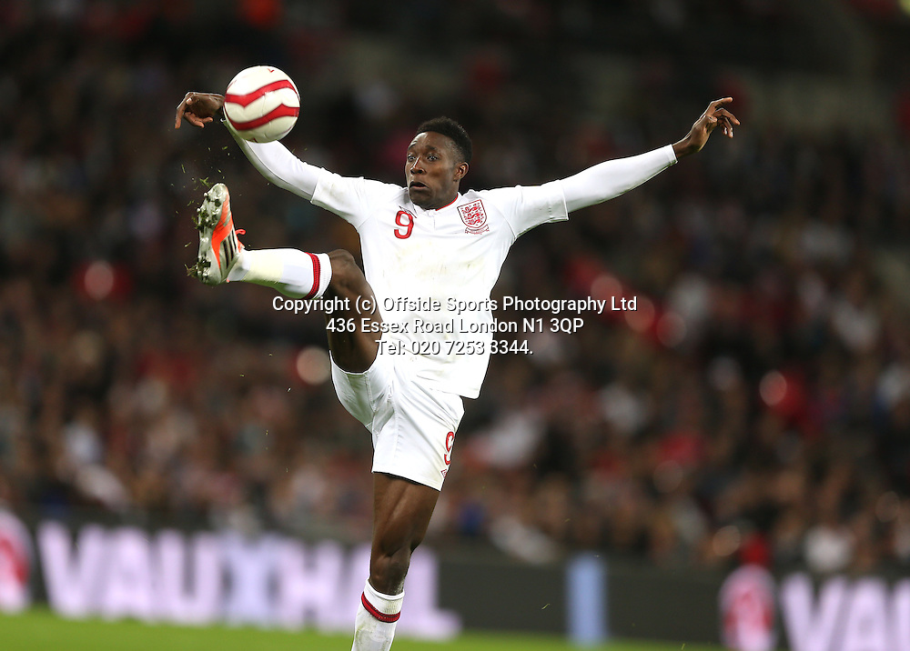 12 October 2012 Football. England v San Marino.<br /> England striker Danny Welbeck controls the ball.<br /> Photo: Mark Leech.