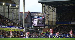 04122011, Goodison Park, Liverpool, ENG, Premier League, FC Everton vs Stoke City, 14 Spieltag, im Bild An image of former Everton player and Wales manager Gary Speed, who died earlier this week, is shown on the big screen as players and fans of both Everton and Stoke City pay tribute the football match of english Premier League, 14th round between FC Everton and Stoke City at Goodison Park, Liverpool, ENG on 2011/12/04. EXPA Pictures © 2011, PhotoCredit: EXPA/ Sportida/ David Rawcliff..***** ATTENTION - OUT OF ENG, GBR, UK *****
