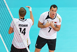 11.09.2011, O2 Arena, Prag, CZE, Europameisterschaft Volleyball Maenner, Vorrunde D, Deutschland (GER) vs Slowakei (SVK), im Bild Robert Kromm (#14 GER / Verona ITA), Georg Grozer (#7 GER / Rzeszow POL) // during the 2011 CEV European Championship, Germany vs Slovakia at O2 Arena, Prague, 2011-09-11. EXPA Pictures © 2011, PhotoCredit: EXPA/ nph/  Kurth       ****** out of GER / CRO  / BEL ******