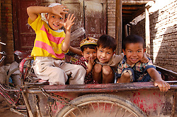 Young muslim Uyghur children in Kashgar Xinjiang Province China