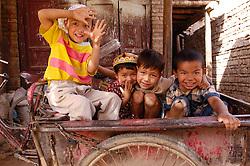 Young muslim Uyghur children in Kashgar Xinjiang Province China
