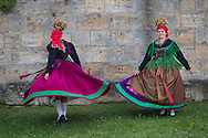 Anna and Tina are wearing a historic Traditional Bridal Costume from around 1800 in Effeltrich, Bavaria in Germany on July 28, 2017.<br /> <br /> This dress had it's origins in the 1600s.