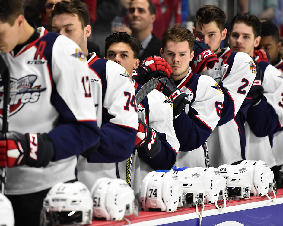 The Windsor Spitfires in Game 3 of the 2017 MasterCard Memorial Cup against the Seattle Thunderbirds on Sunday May 21, 2017 at the WFCU Centre in Windsor, ON. Photo by Aaron Bell/CHL Images