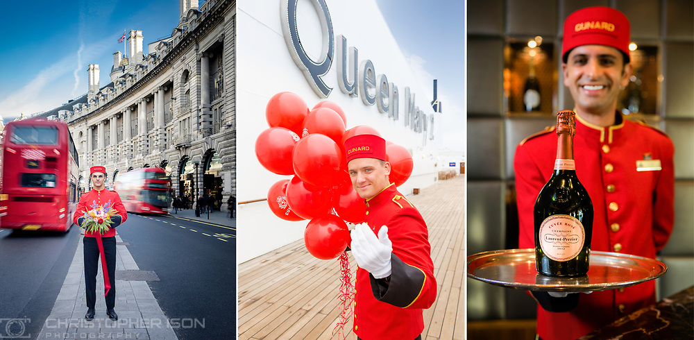 Cunard Bellboys pictured on board Cunard's Queen Mary 2 and in London.<br /> Picture date: Thursday December 15, 2016.<br /> Photograph by Christopher Ison &copy;<br /> 07544044177<br /> chris@christopherison.com<br /> www.christopherison.com