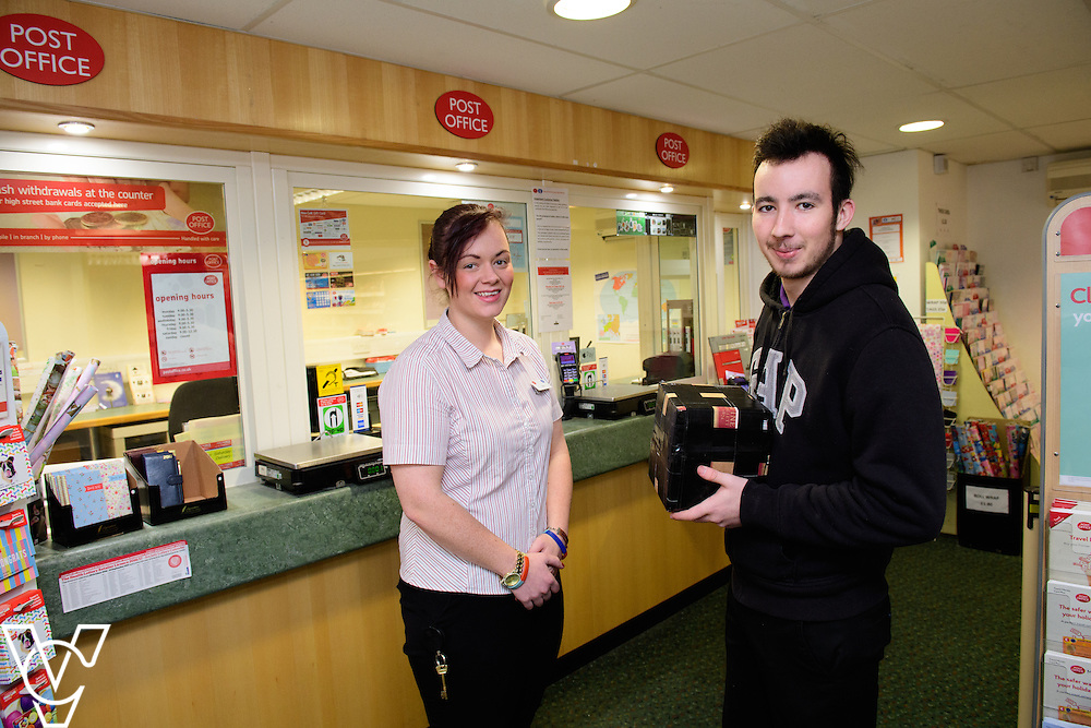 Skellingthorpe Post Office have performed particularly well over busy periods, including Christmas.  Pictured is Emily Nelson with customer Scott Dyer.<br /> <br /> Picture: Chris Vaughan Photography<br /> Date: February 7, 2017