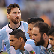 EAST RUTHERFORD, NEW JERSEY - JUNE 26: Lionel Messi #10 of Argentina pulls out of the team photograph early before the Argentina Vs Chile Final match of the Copa America Centenario USA 2016 Tournament at MetLife Stadium on June 26, 2016 in East Rutherford, New Jersey. (Photo by Tim Clayton/Corbis via Getty Images)