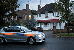© Licensed to London News Pictures. 04/11/2017. London, UK. A police car is seen outside a house in Wimbledon where a seven year old girl was found seriously injured on Friday who has since died. Robert Peters appeared at Wimbledon Magistrates' Court on Saturday and was charged with attempted murder.  Photo credit: Peter Macdiarmid/LNP