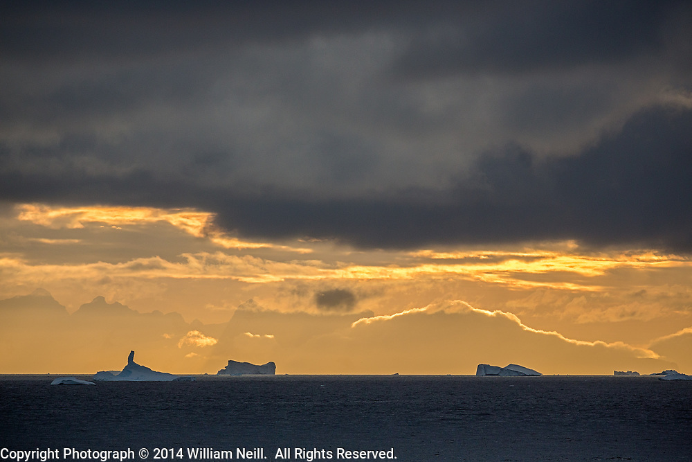Icebergs and Sunset, Antarctic Peninsula, Antarctica  2014