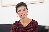 16 MAY 2016, BERLIN/GERMANY:<br /> Sahra Wagenknecht, MdB, Die Linke, Fraktionsvorsitzende DIe Linke Bundestagsfraktion, waehrend einem Interview, in ihrem Buero, Jakob-Kaiser-Haus, Deutscher Bundestag<br /> IMAGE: 20170516-02-050<br /> KEYWORDS: Büro