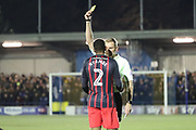 Blackburn Rovers defender Ryan Nyambe (2) gets a yellow card during the EFL Sky Bet League 1 match between AFC Wimbledon and Blackburn Rovers at the Cherry Red Records Stadium, Kingston, England on 27 February 2018. Picture by Matthew Redman.