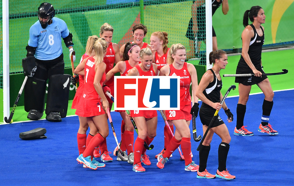 Britain's players celebrate a goal during the women's semifinal field hockey New Zealand vs Britain match of the Rio 2016 Olympics Games at the Olympic Hockey Centre in Rio de Janeiro on August 17, 2016. / AFP / Pascal GUYOT        (Photo credit should read PASCAL GUYOT/AFP/Getty Images)