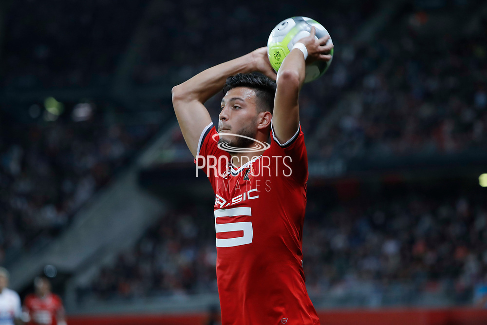 Ramy BENSEBAINI (STADE RENNAIS FOOTBALL CLUB) for a throw in during the French championship L1 football match between Rennes v Lyon, on August 11, 2017 at Roazhon Park stadium in Rennes, France - Photo Stephane Allaman / ProSportsImages / DPPI