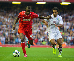 13.09.2014, Anfield, Liverpool, ENG, Premier League, FC Liverpool vs Aston Villa, 4. Runde, im Bild Liverpool's Mario Balotelli in action against Aston Villa // during the English Premier League 4th round match between Liverpool FC and Aston Villa at Anfield in Liverpool, Great Britain on 2014/09/13. EXPA Pictures © 2014, PhotoCredit: EXPA/ Propagandaphoto/ David Rawcliffe<br /> <br /> *****ATTENTION - OUT of ENG, GBR*****