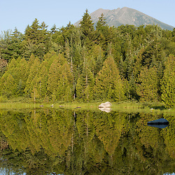 Early morning on Katahdin Lake in Maine's Baxter State Park.  Mount Katahdin.