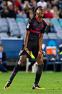 July 13 2017: Arsenal player Joe Willock (69) upset at missing the goal at the International soccer match between English Premier League giants Arsenal and A-League premiers Sydney FC at ANZ Stadium in Sydney.