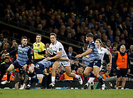 Ospreys' Ashley Beck is tackled by Cardiff Blues' Matthew Morgan<br /> <br /> Photographer Simon King/Replay Images<br /> <br /> Guinness PRO14 Round 21 - Cardiff Blues v Ospreys - Saturday 28th April 2018 - Principality Stadium - Cardiff<br /> <br /> World Copyright © Replay Images . All rights reserved. info@replayimages.co.uk - http://replayimages.co.uk