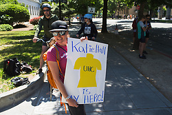 A Katie Hall fan on Stage 3 of the Amgen Tour of California - a 70 km road race, starting and finishing in Sacramento on May 19, 2018, in California, United States. (Photo by Balint Hamvas/Velofocus.com)