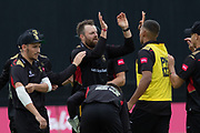 Leicestershire celebrate beating Notts Outlaws during the Vitality T20 Blast North Group match between Notts Outlaws and Leicestershire Foxes at Trent Bridge, West Bridgford, United Kingdon on 27 July 2019.