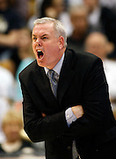 BYU head coach Dave Rose reacts to a foul called on his team during the second half of an NCAA college basketball game against New Mexico in Provo, Utah, Wednesday, March. 2, 2011.  New Mexico defeated third-ranked BYU, 82-64. (AP Photo/Colin E Braley)