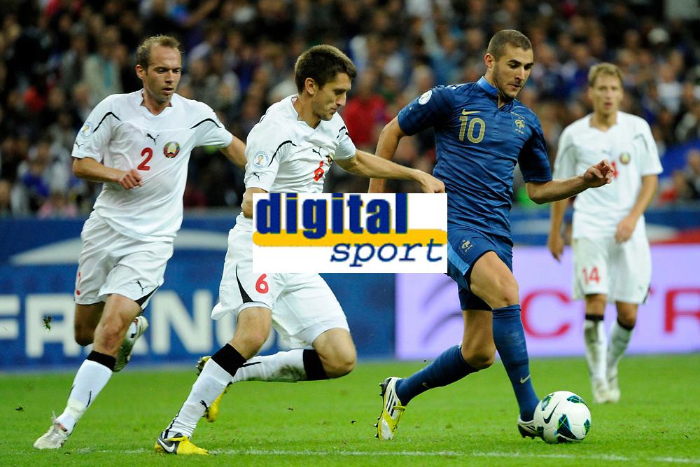 FOOTBALL - FIFA WORLD CUP 2014 - QUALIFYING - FRANCE v BIELORUSSIA - SAINT DENIS (FRANCE) - 11/09/2012 - PHOTO JEAN MARIE HERVIO / REGAMEDIA / DPPI - KARIM BENZEMA (FRA) / ARTEM RADKOV (BIE)