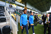Southend players arrive at the Pirelli Stadium during the EFL Sky Bet League 1 match between Burton Albion and Southend United at the Pirelli Stadium, Burton upon Trent, England on 2 October 2018.