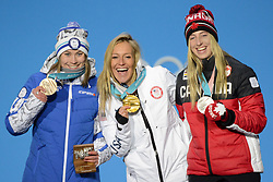 February 12, 2018 - Pyeongchang, South Korea - (L-R) Bronze medalist ENNI RUKAJARVI of Finland, Gold medalist JAMIE ANDERSON of USA, and silver medalist LAURIE BLOUIN of Canada with their medals from the Snowboard Ladies' Slopestyle event at the PyeongChang Winter Olympic Games. (Credit Image: © Christopher Levy via ZUMA Wire)