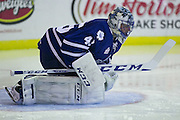Marlies goaltender Jonathan Bernier warms up before a game against the Rochester Americans in Rochester, New York, USA on Friday, December 4, 2015.