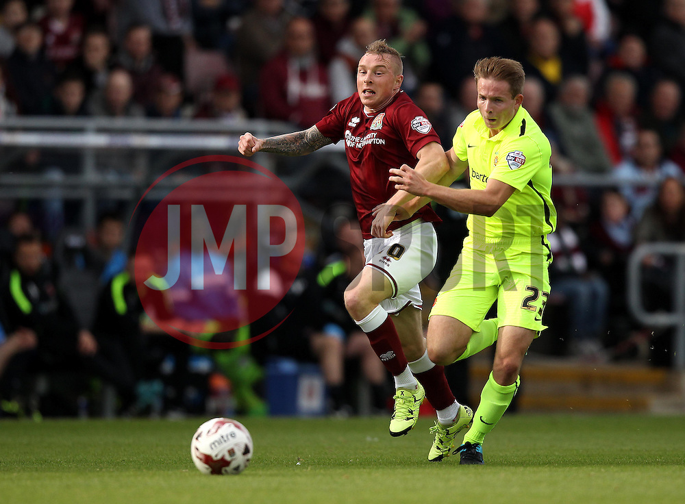 Nicky Adams of Northampton Town takes on Connor Smith of Hartlepool United - Mandatory byline: Robbie Stephenson/JMP - 07966 386802 - 10/10/2015 - FOOTBALL - Sixfields Stadium - Northampton, England - Northampton Town v Hartlepool - Sky Bet League Two