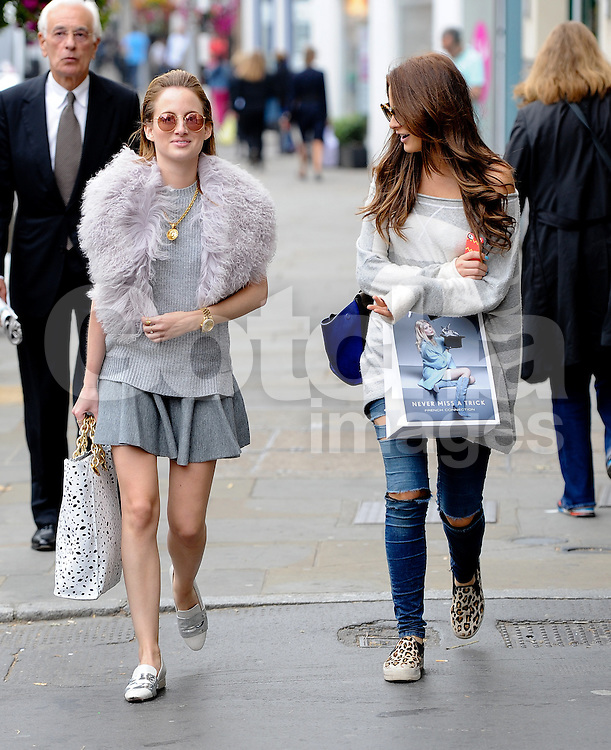 Made In Chelsea stars Rosie Fortescue and Binky Felstead out shopping on the Kings Road in London UK 17/09/2014<br />