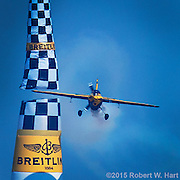 Breitling pilot Nigel Lamb of Great Britain clips a pylon during the final day of the Red Bull Air Race at Texas Motor Speedway on September 27, 2015 in Fort Worth, Texas. (Robert W. Hart/Special Contributor)