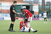 Hamilton Academical forward Mickel Miller (11) makes sure his team mate Hamilton Academical midfielder Tom Taiwo (12) is alright during the Ladbrokes Scottish Premiership match between Hamilton Academical FC and Celtic at New Douglas Park, Hamilton, Scotland on 24 November 2018. Pic Mick Atkins
